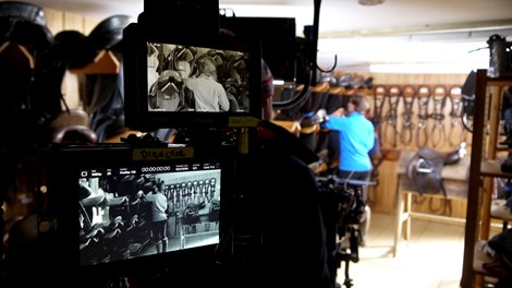 Film displays during filming in stable