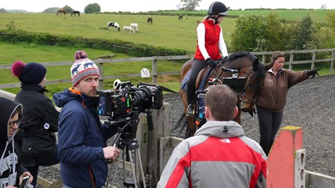 Film crew directing Stage 1 Rider for riding scenes