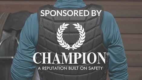Sponsored by Champion logo with body protector in background